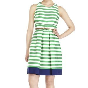NWT Eliza J Green Striped Belted Fit & Flare Dress